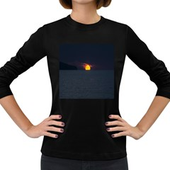 Sunset Ocean Azores Portugal Sol Women s Long Sleeve Dark T-Shirts