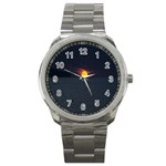Sunset Ocean Azores Portugal Sol Sport Metal Watch Front