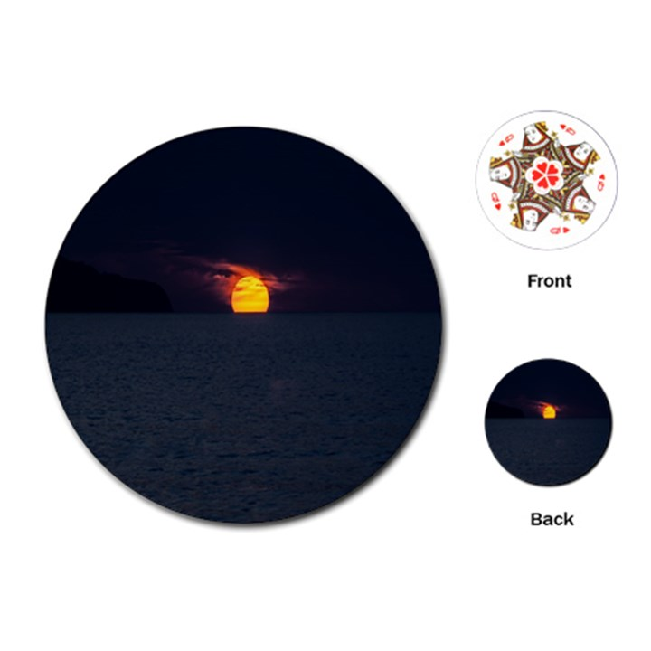 Sunset Ocean Azores Portugal Sol Playing Cards (Round)