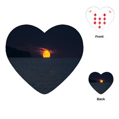 Sunset Ocean Azores Portugal Sol Playing Cards (Heart)