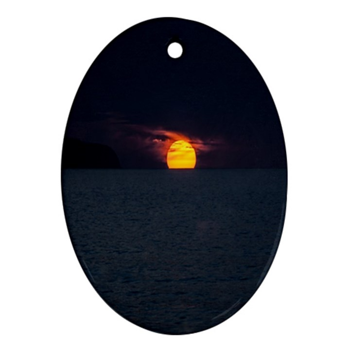 Sunset Ocean Azores Portugal Sol Oval Ornament (Two Sides)