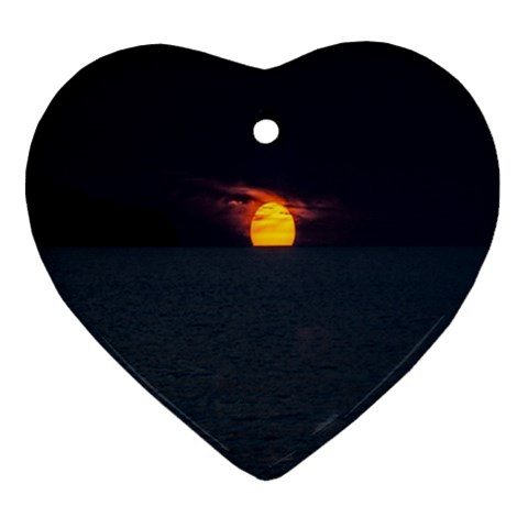 Sunset Ocean Azores Portugal Sol Heart Ornament (2 Sides)