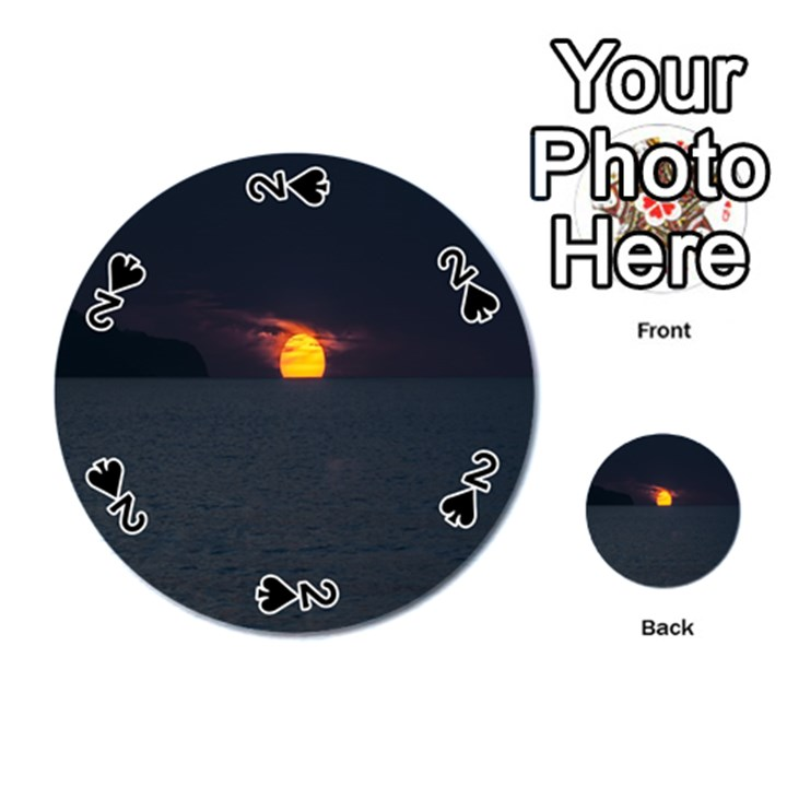 Sunset Ocean Azores Portugal Sol Playing Cards 54 (Round)