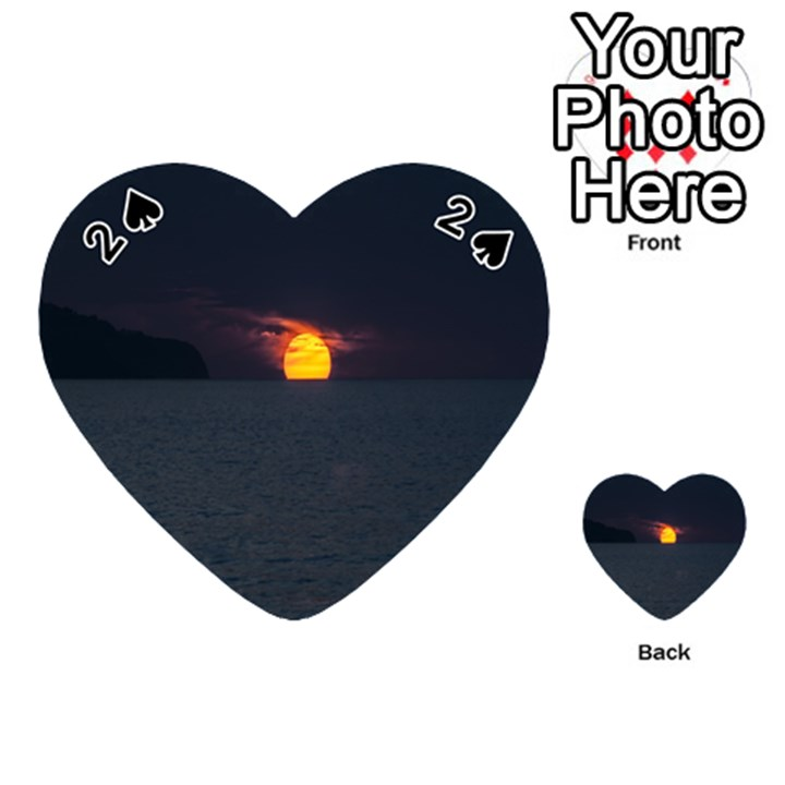 Sunset Ocean Azores Portugal Sol Playing Cards 54 (Heart)