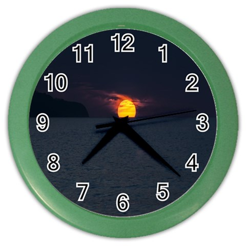 Sunset Ocean Azores Portugal Sol Color Wall Clocks