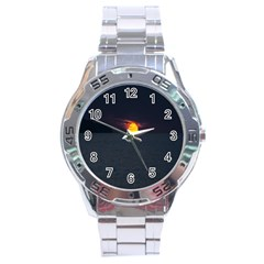 Sunset Ocean Azores Portugal Sol Stainless Steel Analogue Watch