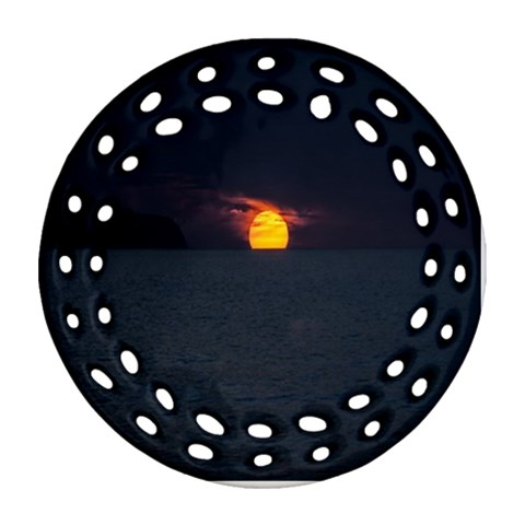 Sunset Ocean Azores Portugal Sol Round Filigree Ornament (2Side)