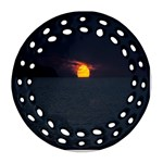 Sunset Ocean Azores Portugal Sol Round Filigree Ornament (2Side) Back