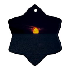 Sunset Ocean Azores Portugal Sol Snowflake Ornament (2-Side)