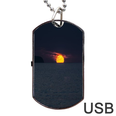 Sunset Ocean Azores Portugal Sol Dog Tag USB Flash (One Side)