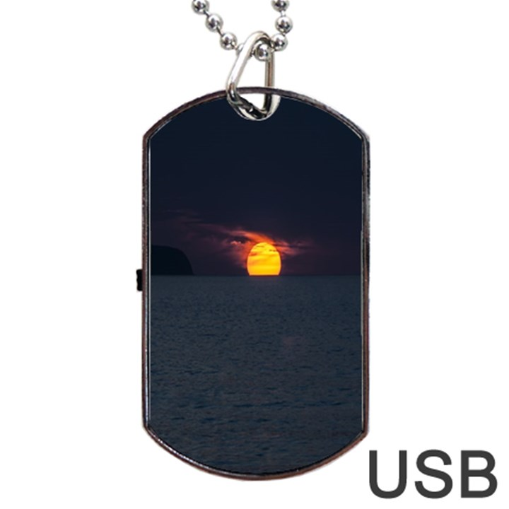 Sunset Ocean Azores Portugal Sol Dog Tag USB Flash (Two Sides)