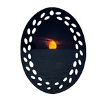 Sunset Ocean Azores Portugal Sol Ornament (Oval Filigree)  Front