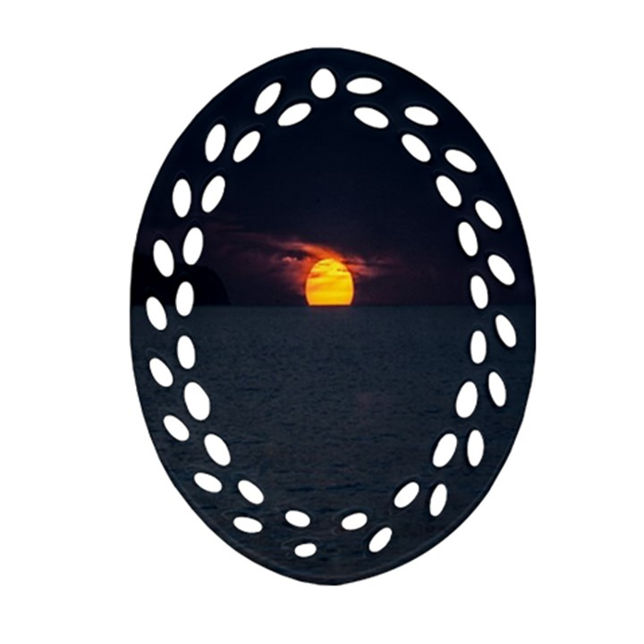 Sunset Ocean Azores Portugal Sol Ornament (Oval Filigree)
