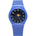 Sunset Ocean Azores Portugal Sol Round Plastic Sport Watch (S) Front