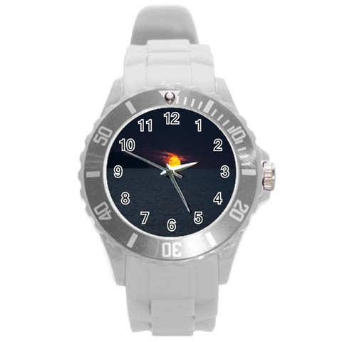 Sunset Ocean Azores Portugal Sol Round Plastic Sport Watch (L)