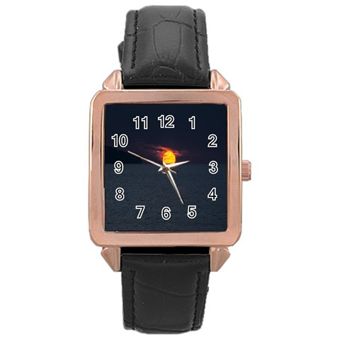 Sunset Ocean Azores Portugal Sol Rose Gold Leather Watch