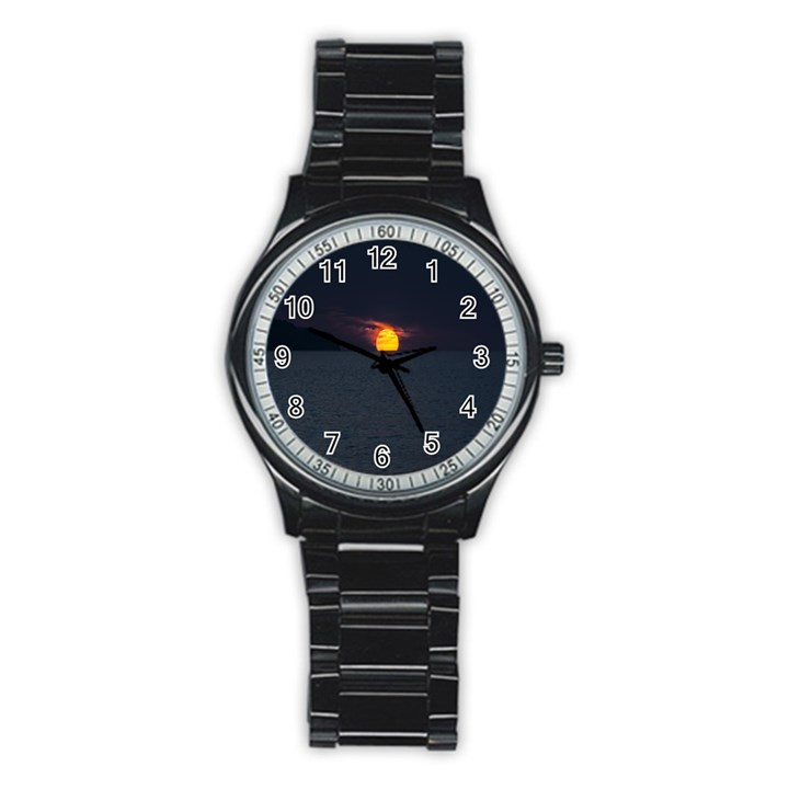 Sunset Ocean Azores Portugal Sol Stainless Steel Round Watch