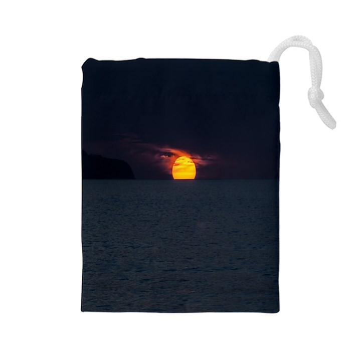 Sunset Ocean Azores Portugal Sol Drawstring Pouches (Large)