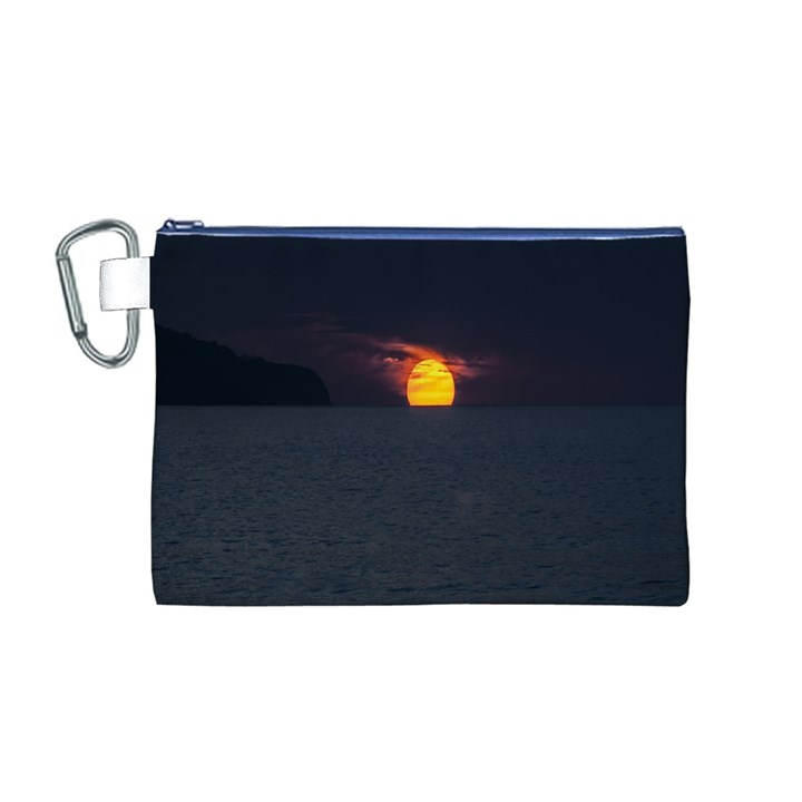 Sunset Ocean Azores Portugal Sol Canvas Cosmetic Bag (M)