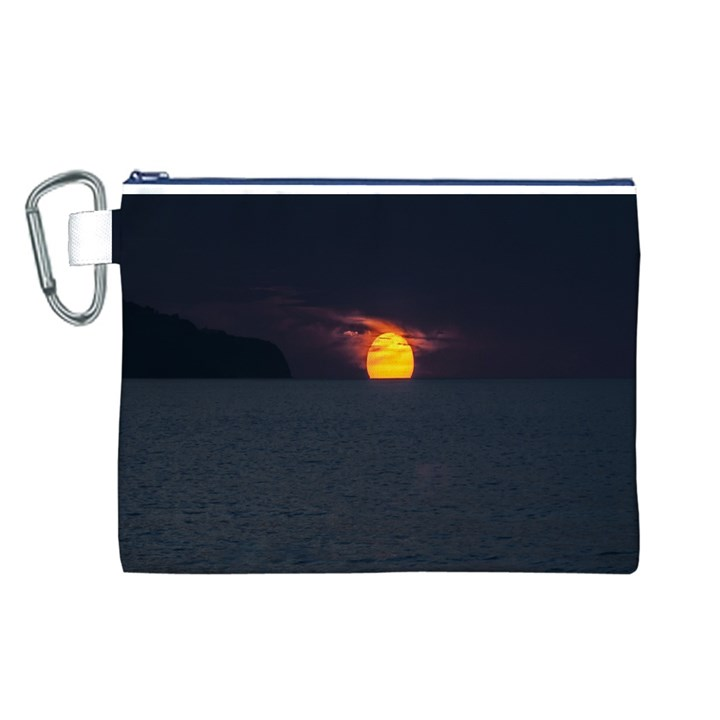 Sunset Ocean Azores Portugal Sol Canvas Cosmetic Bag (L)