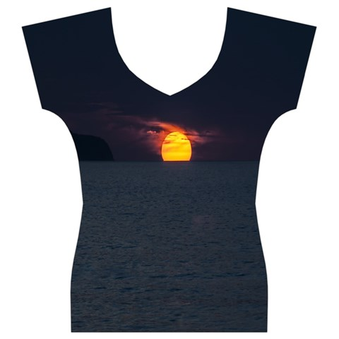 Sunset Ocean Azores Portugal Sol Women s V-Neck Cap Sleeve Top