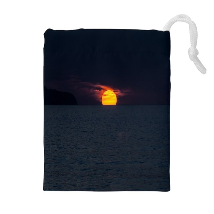 Sunset Ocean Azores Portugal Sol Drawstring Pouches (Extra Large)