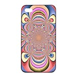Pastel Shades Ornamental Flower Apple iPhone 4/4s Seamless Case (Black) Front