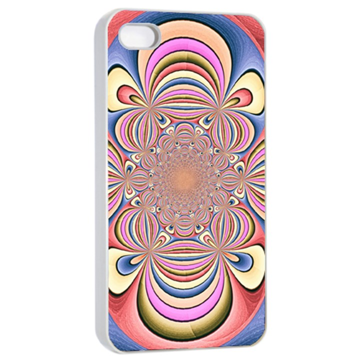 Pastel Shades Ornamental Flower Apple iPhone 4/4s Seamless Case (White)