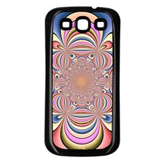 Pastel Shades Ornamental Flower Samsung Galaxy S3 Back Case (black)
