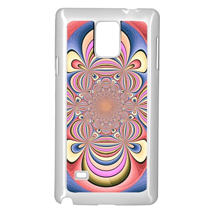 Pastel Shades Ornamental Flower Samsung Galaxy Note 4 Case (White)
