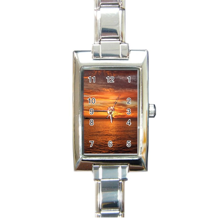 Sunset Sea Afterglow Boot Rectangle Italian Charm Watch