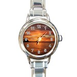 Sunset Sea Afterglow Boot Round Italian Charm Watch Front