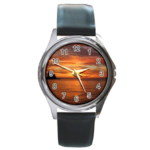 Sunset Sea Afterglow Boot Round Metal Watch