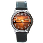 Sunset Sea Afterglow Boot Round Metal Watch Front