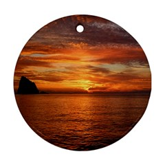 Sunset Sea Afterglow Boot Ornament (Round)