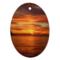 Sunset Sea Afterglow Boot Ornament (Oval)