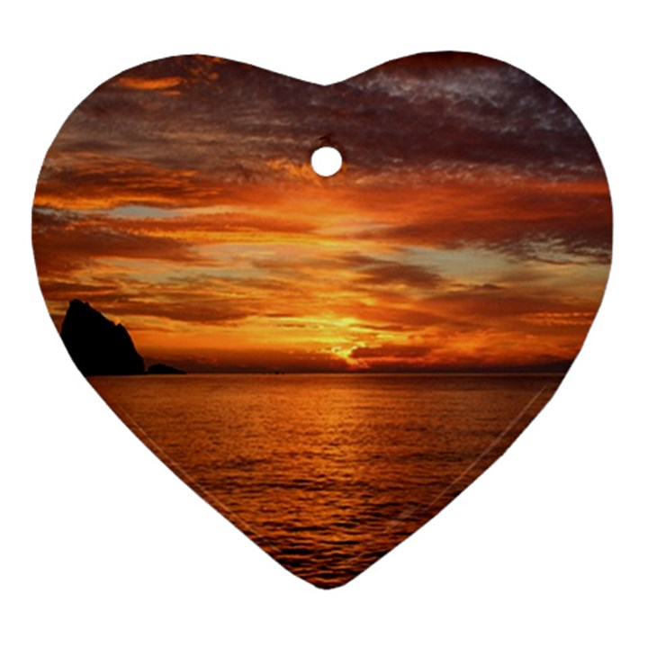 Sunset Sea Afterglow Boot Ornament (Heart)