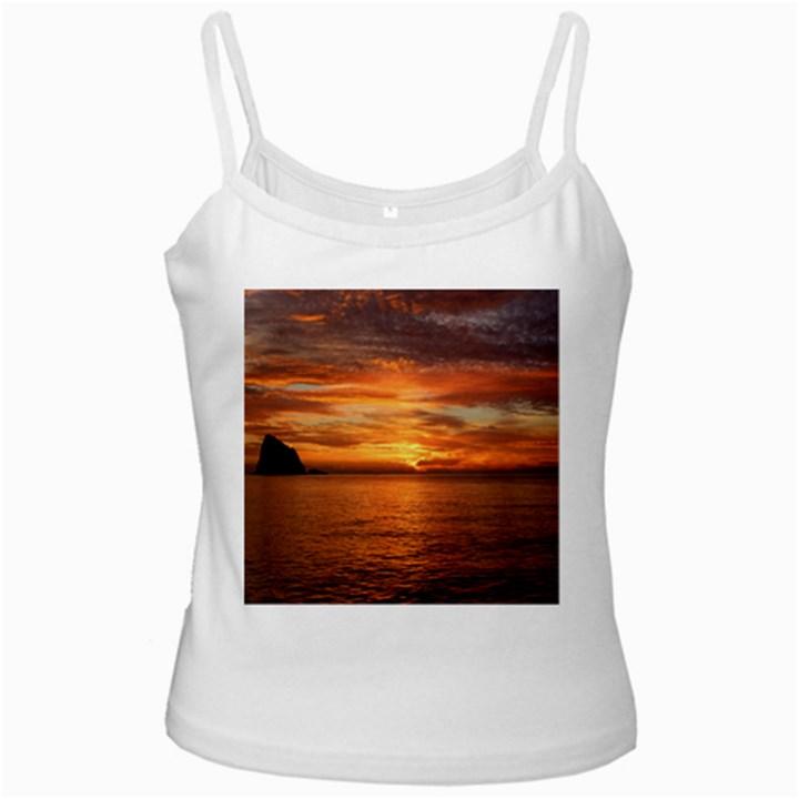 Sunset Sea Afterglow Boot White Spaghetti Tank