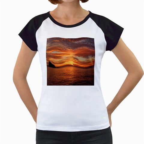Sunset Sea Afterglow Boot Women s Cap Sleeve T