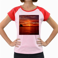Sunset Sea Afterglow Boot Women s Cap Sleeve T-Shirt