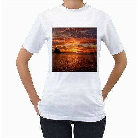 Sunset Sea Afterglow Boot Women s T-Shirt (White) (Two Sided)