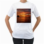 Sunset Sea Afterglow Boot Women s T-Shirt (White) (Two Sided) Front