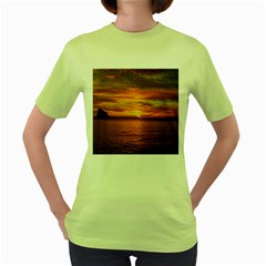 Sunset Sea Afterglow Boot Women s Green T-Shirt