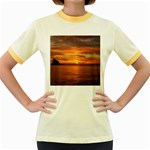 Sunset Sea Afterglow Boot Women s Fitted Ringer T-Shirts Front