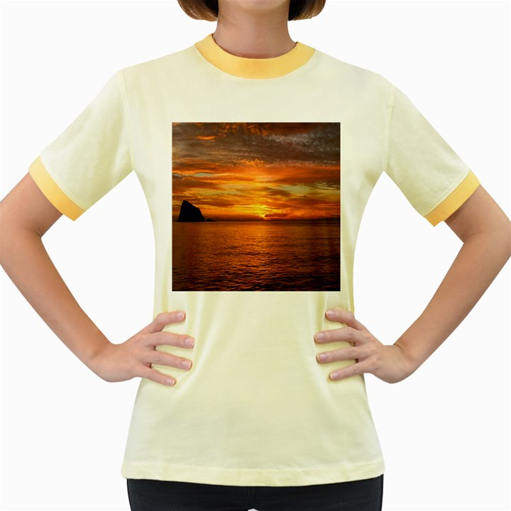 Sunset Sea Afterglow Boot Women s Fitted Ringer T-Shirts