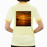 Sunset Sea Afterglow Boot Women s Fitted Ringer T-Shirts Back