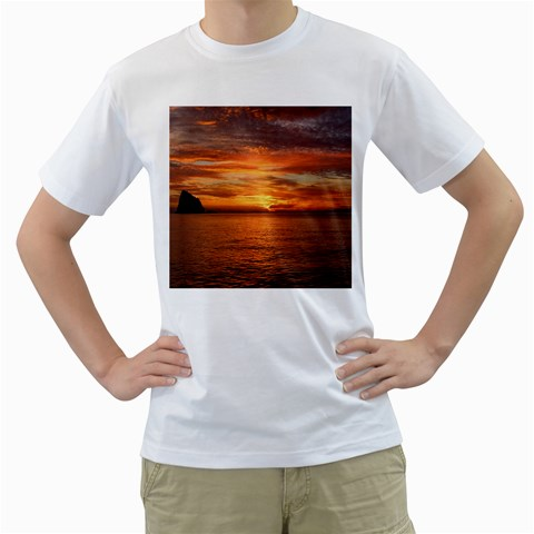 Sunset Sea Afterglow Boot Men s T-Shirt (White) (Two Sided)