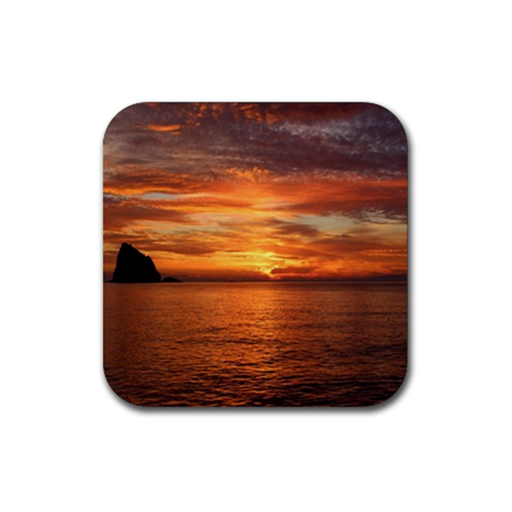 Sunset Sea Afterglow Boot Rubber Square Coaster (4 pack)