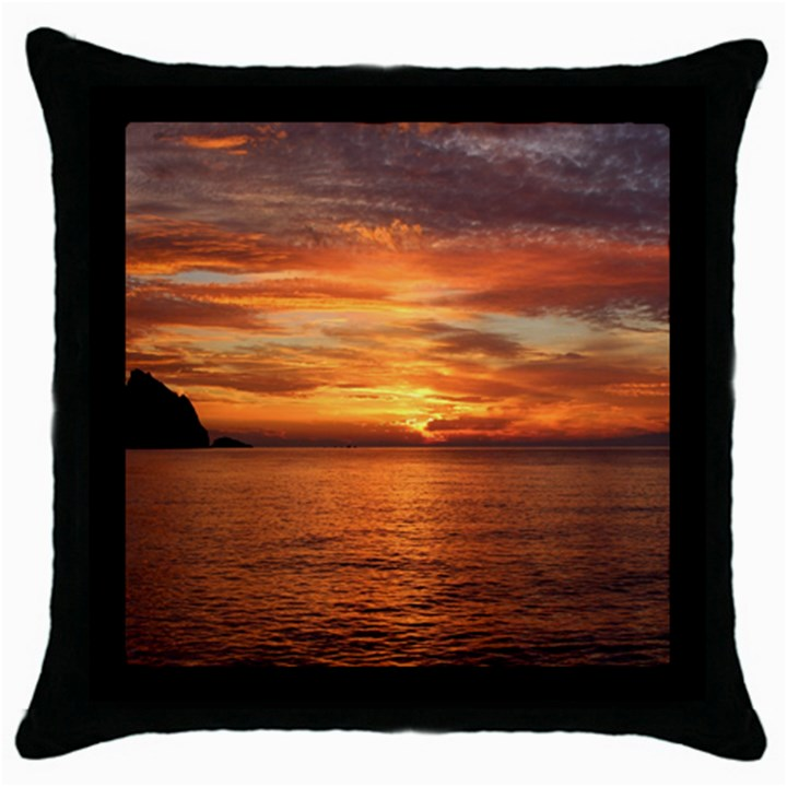 Sunset Sea Afterglow Boot Throw Pillow Case (Black)