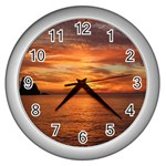 Sunset Sea Afterglow Boot Wall Clocks (Silver)  Front